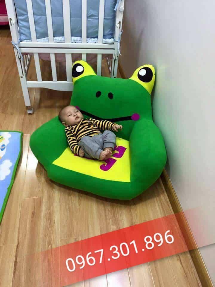 Ghế lười hạt xốp thú bông trẻ em hình ếch xanh