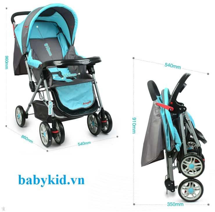 Xe đẩy trẻ em angel 2046 màu xanh ngọc