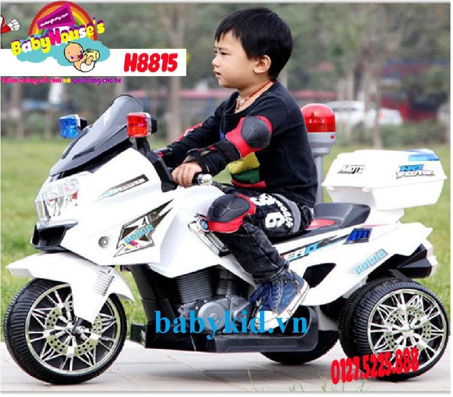 Xe máy điện trẻ em Police 3198 màu trắng