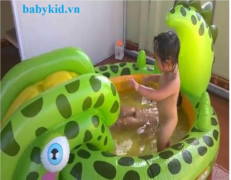 Bể bơi phao cầu trượt trẻ em 57132 màu xanh