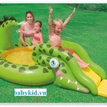 bể bơi phao cầu trượt trẻ em 57132 màu xanh1