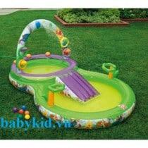 bể bơi phao cầu trượt trẻ em 57451 xanh1