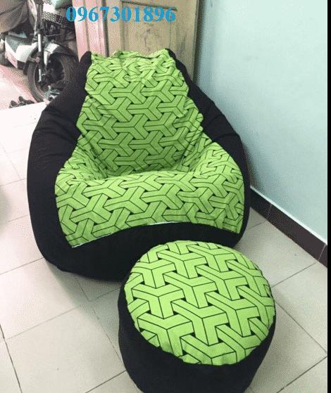 Các mẫu ghế lười hạt xốp quả lê tháng 5 bộ xanh cốm kẻ đan