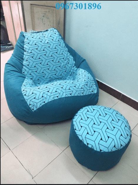 Các mẫu ghế lười hạt xốp quả lê tháng 5 xanh ngọc kẻ đan