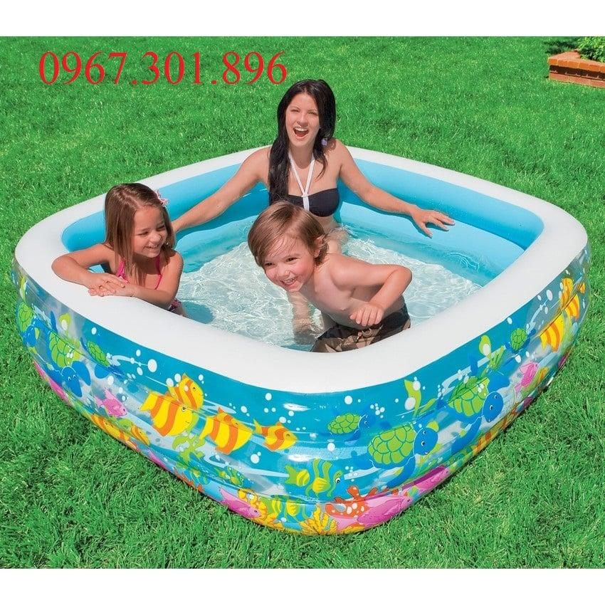 Bể bơi phao intex hình vuông 57471 xanh