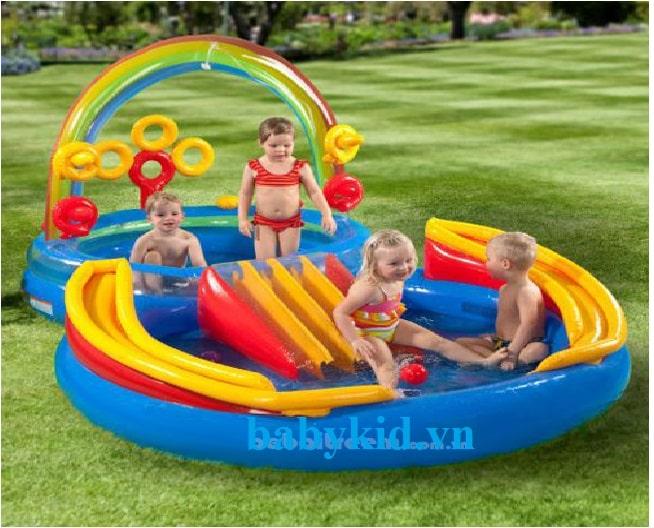Bể bơi phao cầu trượt trẻ em 57453 màu xanh