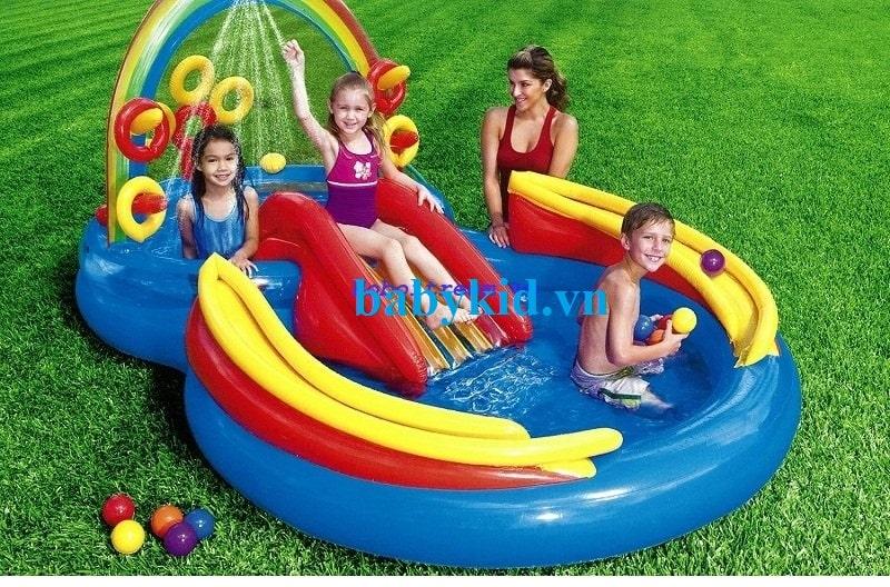 Bể bơi phao cầu trượt trẻ em 57453 giá rẻ