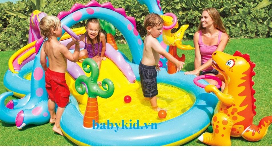 Bể bơi phao trẻ em có cầu trượt 57135