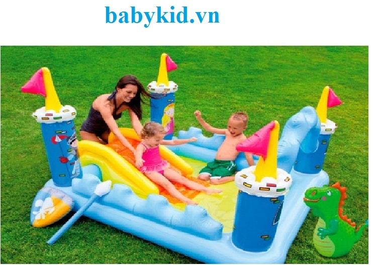 Bể bơi phao trẻ em có cầu trượt 57138 màu xanh