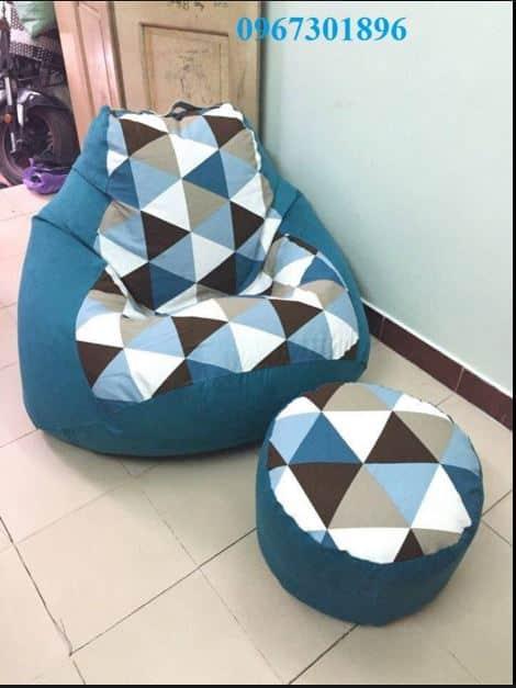 Các mẫu ghế lười hạt xốp quả lê tháng 5 xanh đậm tam giác