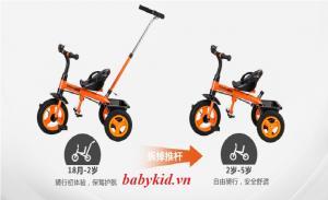 Xe ba bánh trẻ em 103 ( có tay đẩy) màu cam