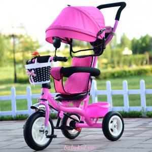 xe đẩy ba bánh trẻ em 1101 mầu hồng