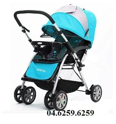 Xe đẩy trẻ em E-592 màu xanh