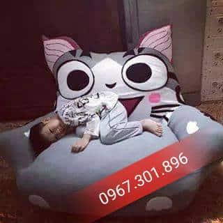 Ghế lười thú bông trẻ em size S hình mèo