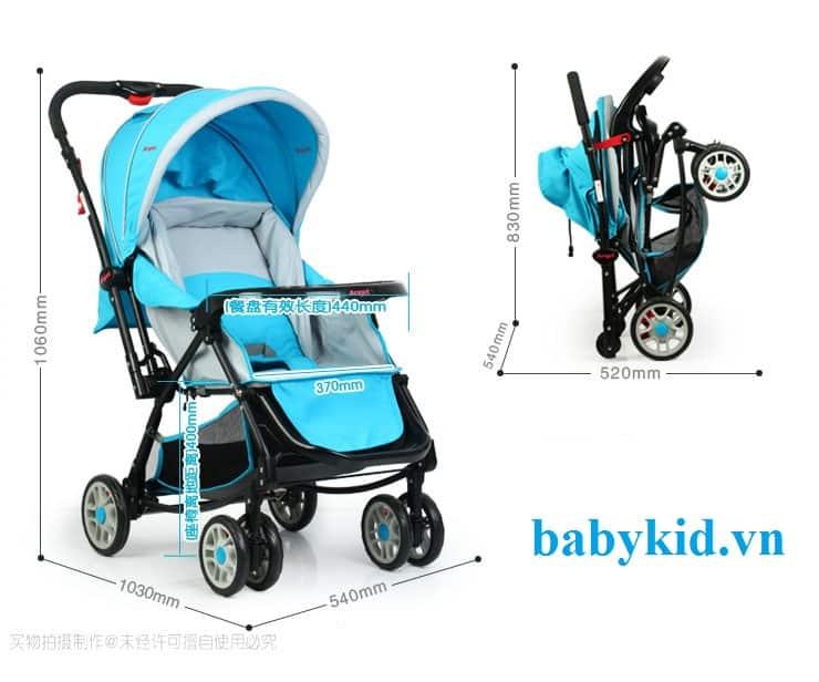 Xe đẩy trẻ em angel 3500 màu xanh