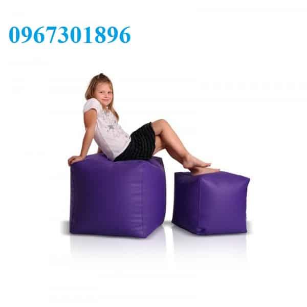 Ghế lười hạt xốp hình vuông size S màu xanh tím