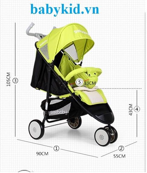 Xe đẩy trẻ em Seebaby Q5 màu xanh