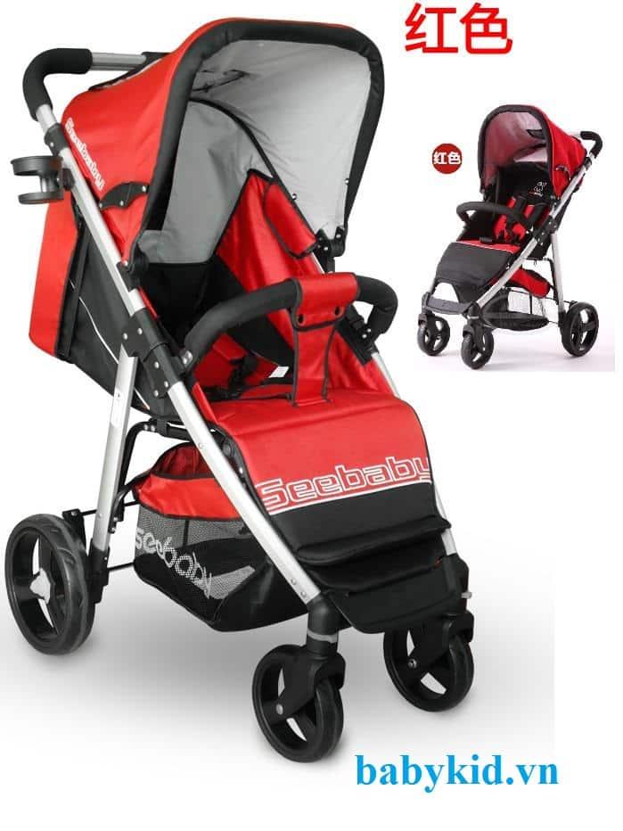 Xe đẩy trẻ em Seebaby T10A màu đỏ