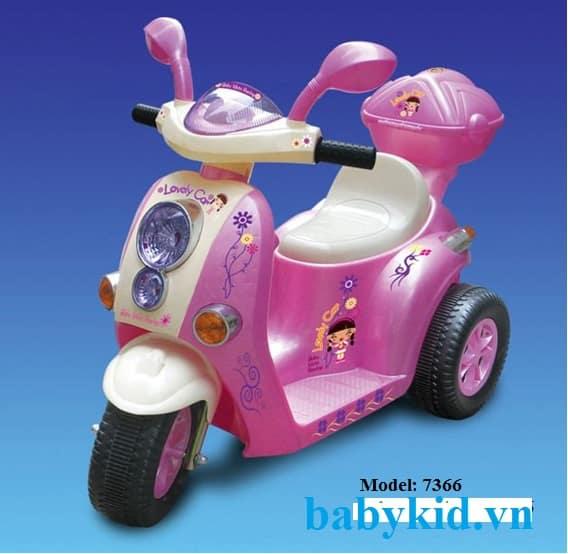 Xe máy điện trẻ em 7366 màu hồng