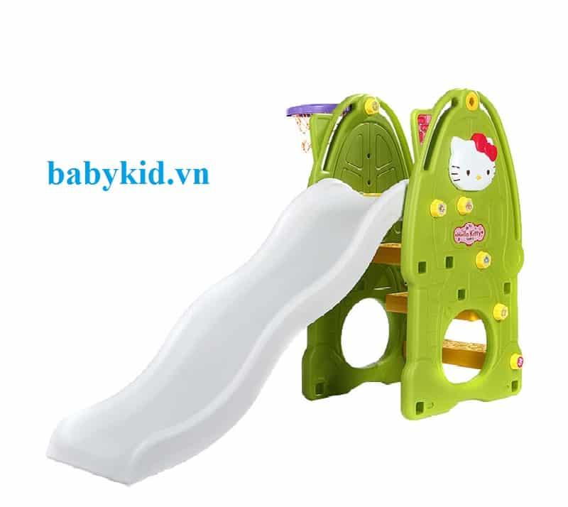 Cầu trượt trẻ em Hello kitty N001A xanh cốm máng trắng