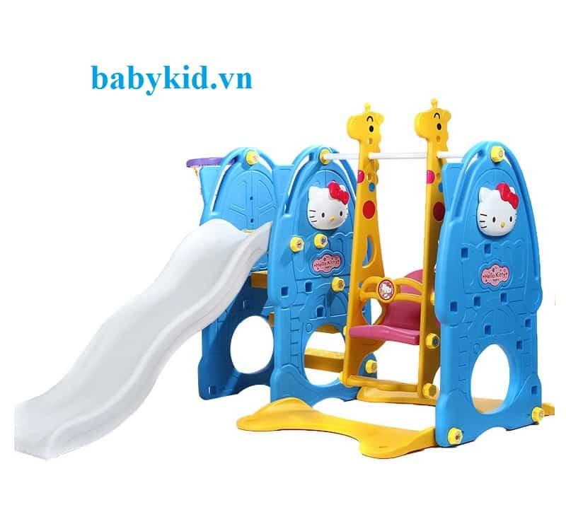 Cầu trượt trẻ em Hello kitty 4 trong 1 N001C xanh dương máng trắng