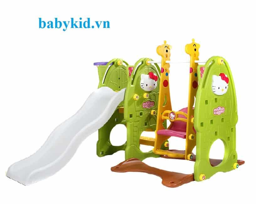 Cầu trượt trẻ em Hello kitty 4 trong 1 N001C màu xanh lá máng trắng