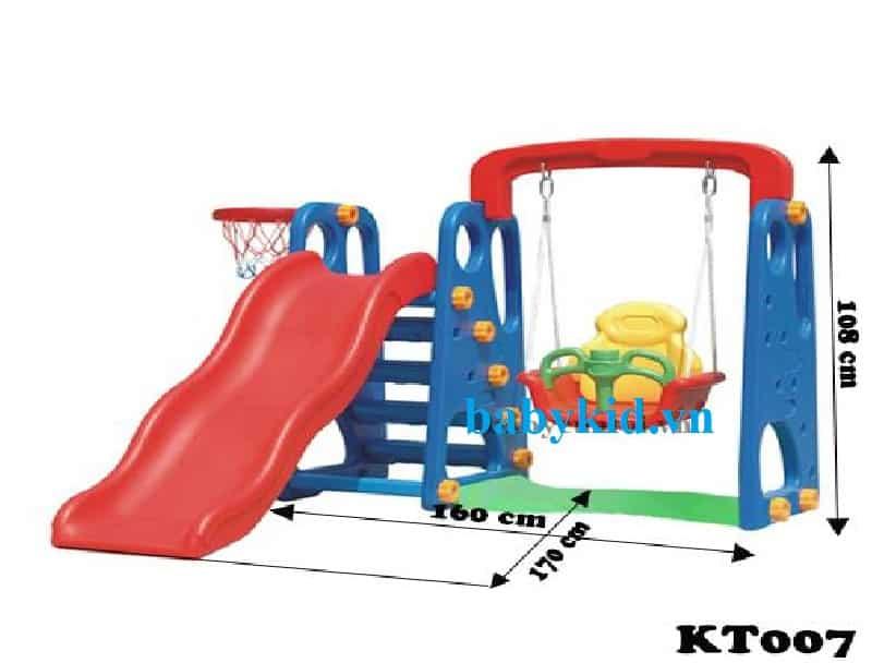 Cầu trượt trẻ em xích đu KT007 xanh đậm máng đỏ