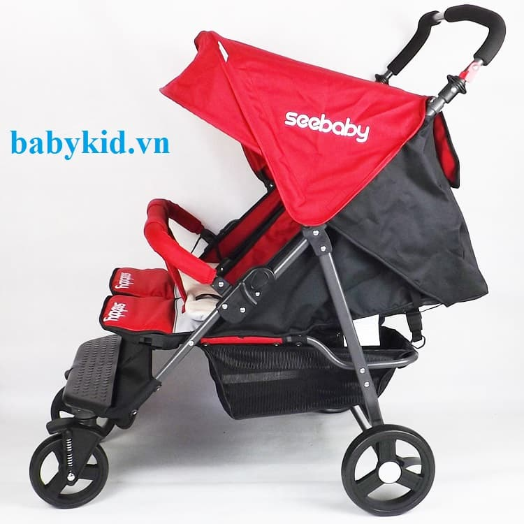 Xe đẩy đôi trẻ em Seebaby T22 màu đỏ