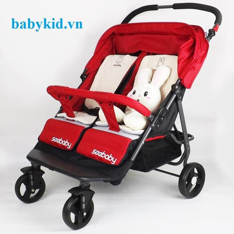Xe đẩy đôi trẻ em Seebaby T22 đỏ