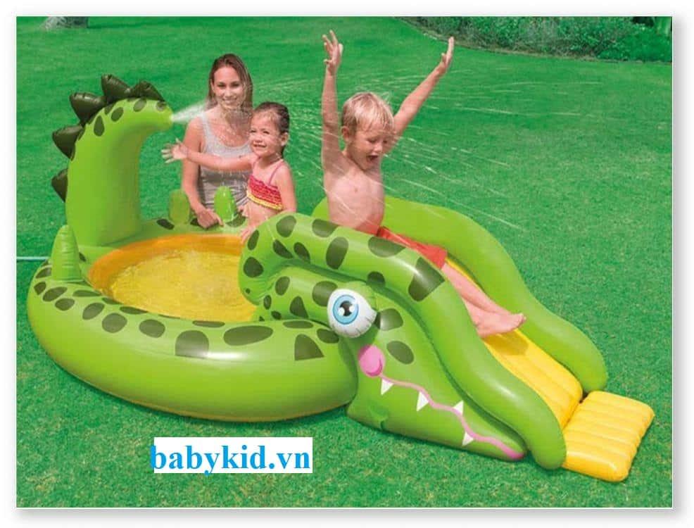 Bể bơi phao cầu trượt trẻ em 57132 xanh