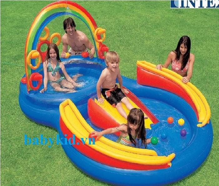 Bể bơi phao cầu trượt trẻ em 57453