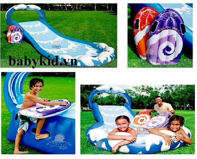 Bể bơi phao trẻ em có cầu trượt 57469 màu xanh