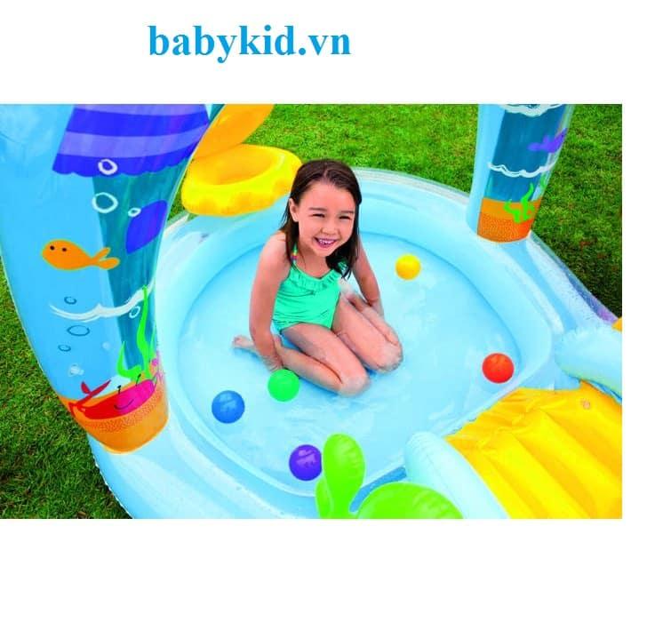 Bể bơi phao trẻ em có cầu trượt intex 57136