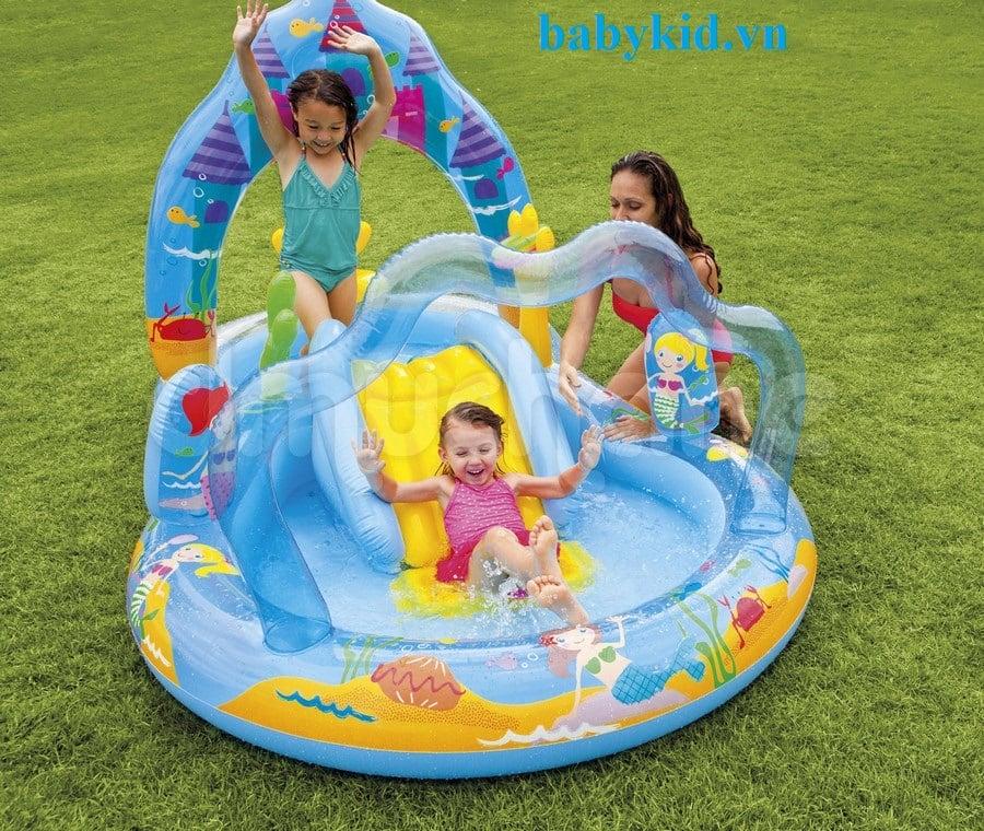 Bể bơi phao trẻ em có cầu trượt intex 57136 màu xanh