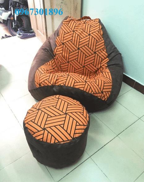 ghế lười hạt xốp hình quả lê size L bộ cam kẻ đan