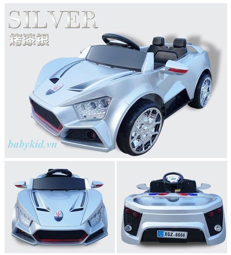 xe ô tô điện trẻ em BQ6666 màu bạc