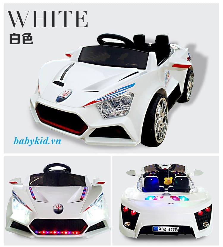 xe ô tô điện trẻ em BQ6666 màu trắng