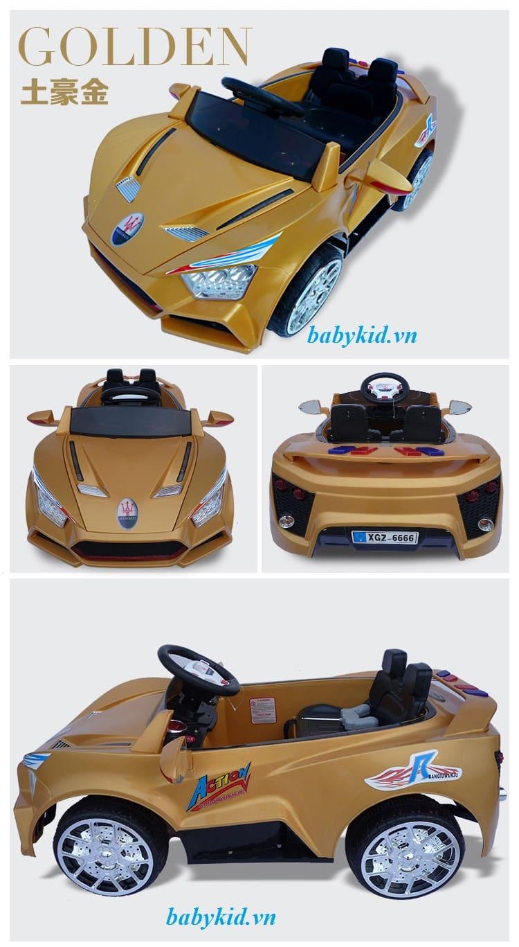 xe ô tô điện trẻ em BQ6666 màu vàng