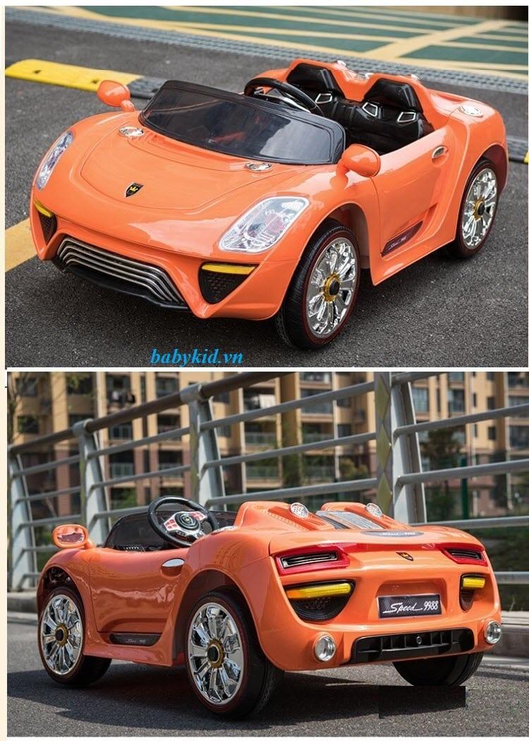 xe ô tô điện trẻ em WXE-9988 màu cam