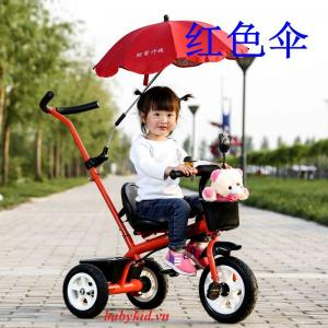 xe đẩy ba bánh trẻ em ZDB-5788 có mái che màu đỏ